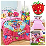 Shopkins Kids 5 Piece Bed in a Bag Twin Bedding Set - Reversible Comforter, Microfiber Sheets Set & Strawberry Kiss Pillow