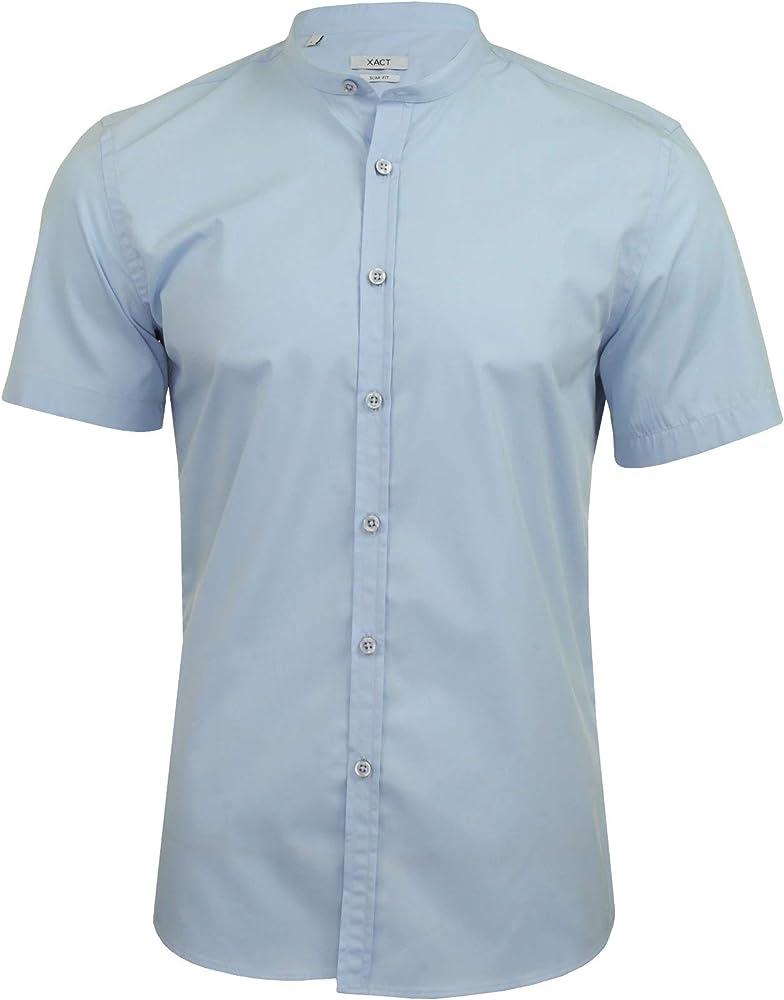 Xact Nehru - Camisa de popelina con cuello abuelo para hombre, manga corta, ajuste entallado Azul azul celeste S: Amazon.es: Ropa y accesorios