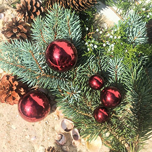 The Holiday Home Set of 5 Stainless Steel Red Mirror Deco Balls, Bowl And Vase Fillers or Floating Globes, Varied Sizes 1 – 2 Inch Diameter, from our Metallic Collection, By Whole House Worlds - Deco Bowl And Ball