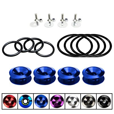 AeroBon JDM Bumper Quick Release Kit with 8 Pieces Replacement O-Ring (4 Regular + 4 Big) (Blue): Automotive