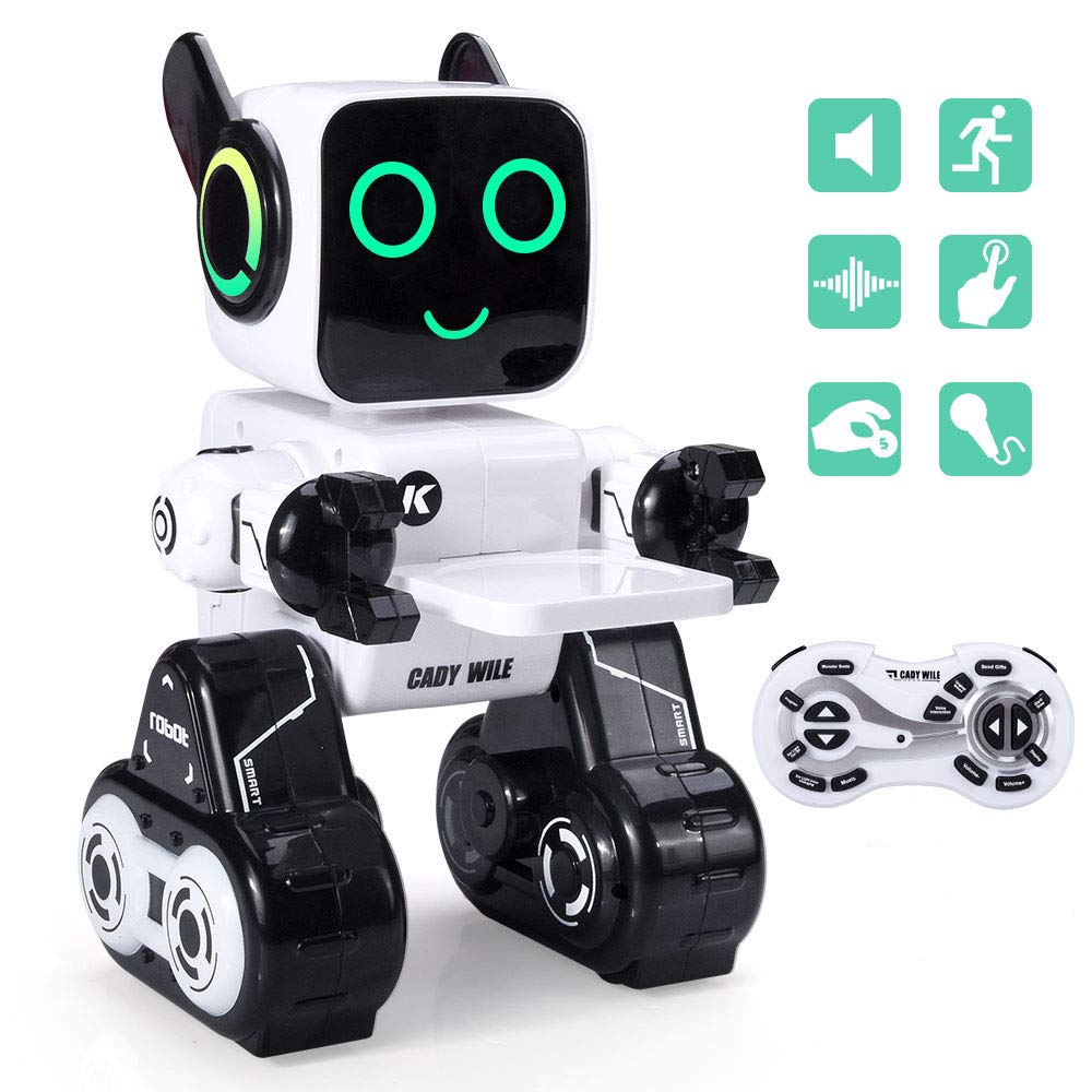 Remote Control Robot Toy for Boys Girls Interactive Programmable Rechargeable RC Robot for Kids, Touch & Sound Control, Speaks, Dance Moves, Plays Music, Built-in Coin Bank Robots Toy - White/Black