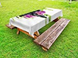 Ambesonne Spa Outdoor Tablecloth, Asian Relaxation Ways with Zen Massage Stones Purple Orchid and a Bamboo, Decorative Washable Picnic Table Cloth, 58 X 84 inches, Purple Black and Green