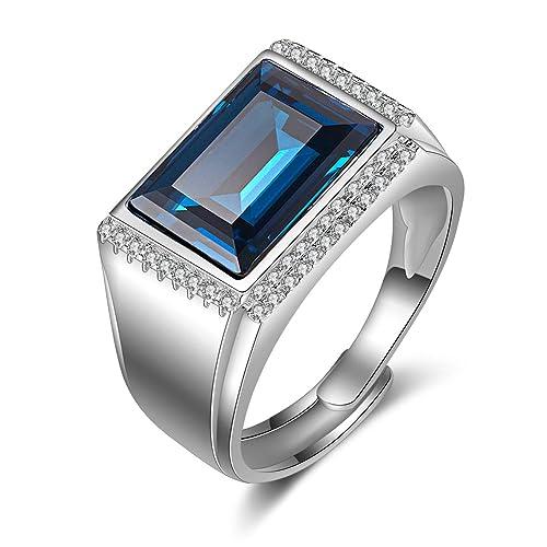 JiangXin Lujoso Azul Plata de ley 925 Anillos ajustable Hombre Compromiso Sólido San valentin Amor Love