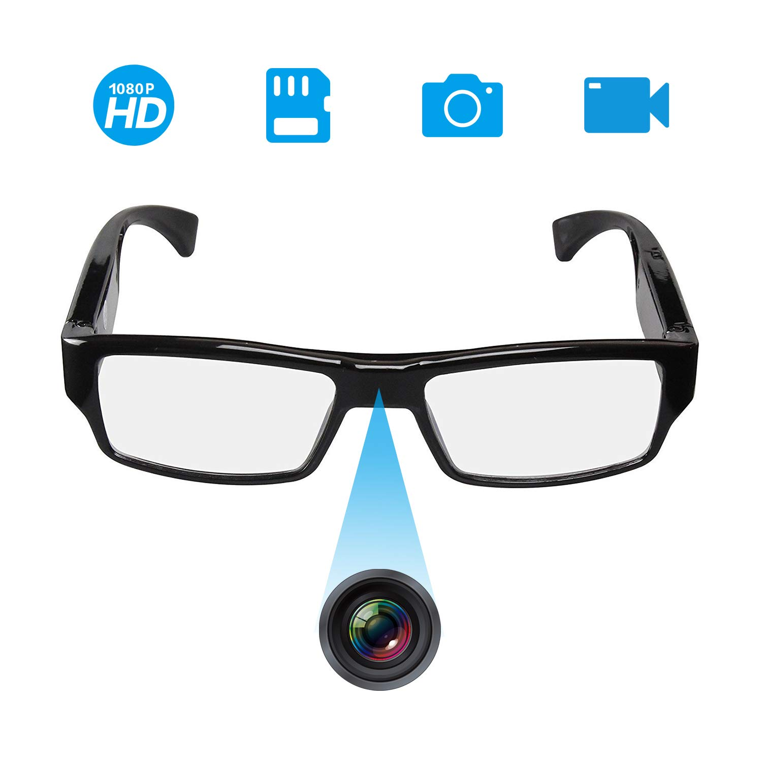 [Upgraded Version] FHD Hidden Camera Eyeglasses, Super Small Surveillance Spy Camera Glasses,Video Recorder,Snapshot,USB Charger Cable by YAOAWE