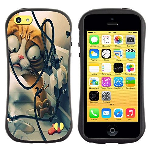 All-Round Hybrid Rubber Case Hard Cover Protective Accessory Gerneration-I Compatible with Apple iPhone 5C - Funny Funny Cat