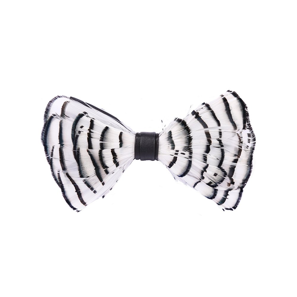 Mens Bowtie Pure Natural Feathers Wedding bowtie Leather Fashion Nicktie Pre Tied Adjustable Bow Ties (white)