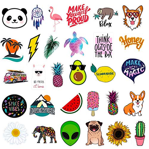 Stickers for Water Bottles | Big 30-Pack | Cute,Waterproof,Aesthetic,Trendy Stickers for Teens,Girls | Perfect for Waterbottle,Laptop,Phone,Travel | Extra Durable 100% Vinyl ()