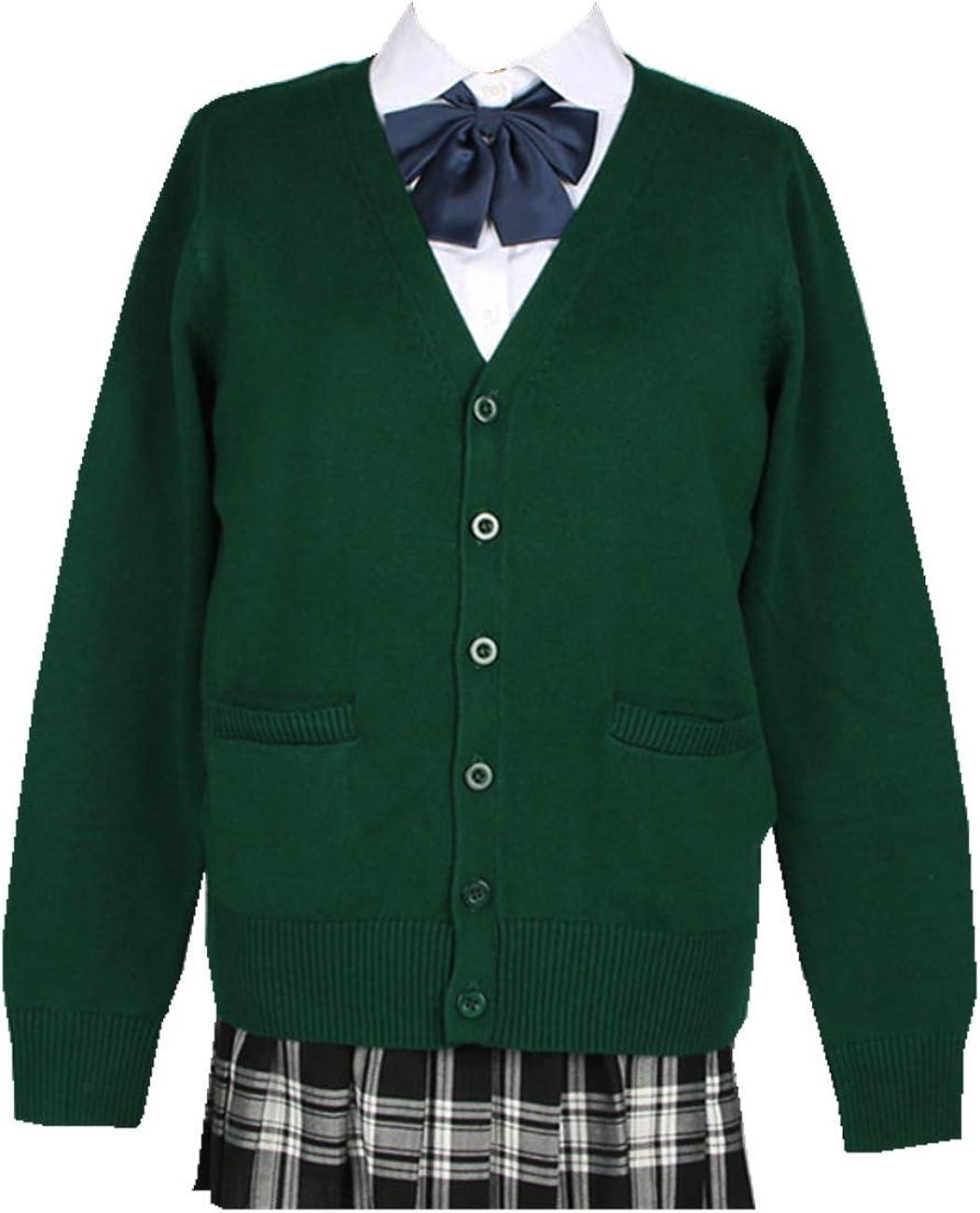 SERAPHY Femmes Cardigan Uniforme Scolaire Chandail D/école Chaud Cardigan Couleur Unie Cardigan Tricot V/êtement Japonais Cosplay Costume