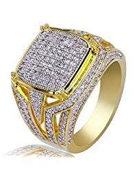 TOPGRILLZ Gold Plated Micro Pave CZ Round Rectangle Wedding Engagement Bling Pinky Ring for Men