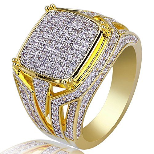 TOPGRILLZ Gold Plated Micro Pave CZ Round Rectangle Wedding Engagement Bling Pinky Ring for Men (11) ()