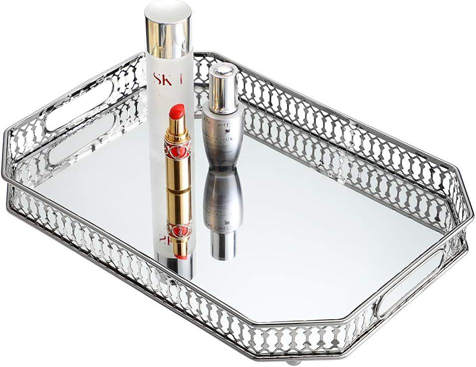 Hipiwe Vanity Makeup Mirror Tray - Metal Jewelry Trinket Organizer Tray Large Cosmetic Perfume Tray Home Decorative Tray for Dresser Bathroom Bedroom Countertop, Silver