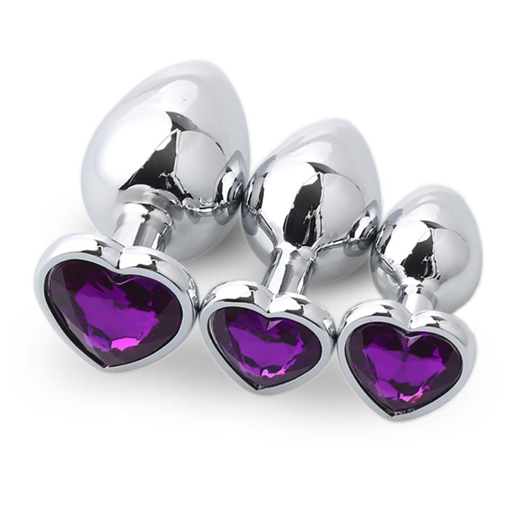 Yoyorule 3 Pcs Heart Shaped Butt-Anal-Play Sex Base with Jewelry Birth Stone G-spot Rose Jewel (Purple)