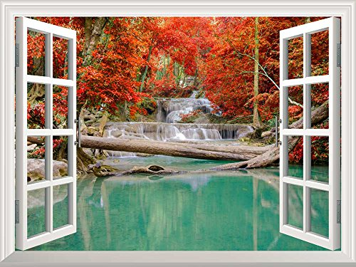 Removable Wall Sticker Wall Mural Waterfall in Deep Forest in Autumn Creative Window View Wall Decor