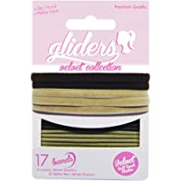 Gliders Velvet Soft Touch Elastic Bands 17 Pieces, Black/Blonde