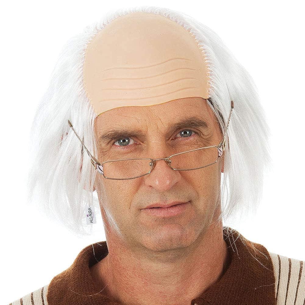Benjamin Franklin Kids Old Man Wig White Costume Wigs Einstein – Bald Grandpa