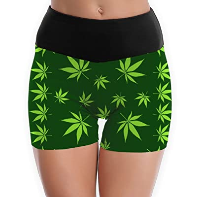 Pot Leaves Weed Leaf Green Yoga Shorts For Women Tummy Control Workout Running Shorts Pants Yoga Short
