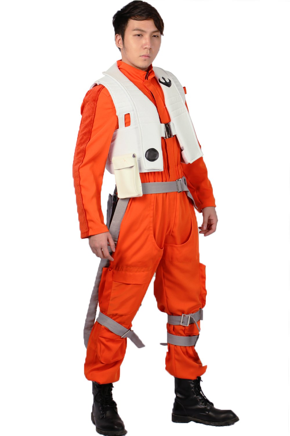 XCOSER Poe Dameron Costume Deluxe Orange Jumpsuit Suit Halloween Cosplay Outfit XL by xcoser (Image #3)