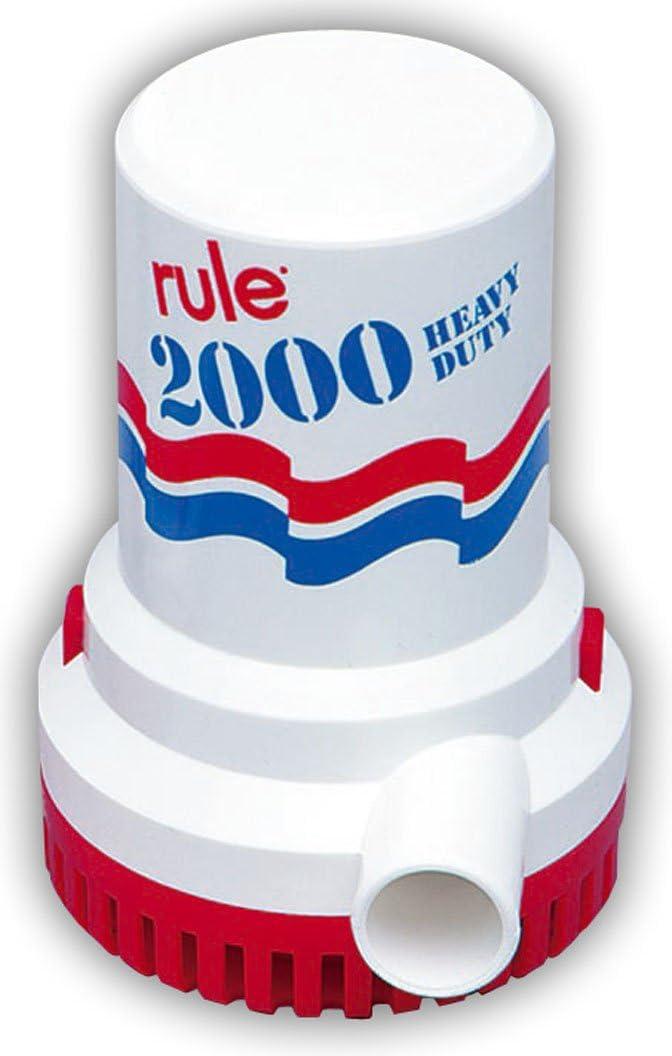 Bomba de achique Marino Rule, 2000 galones por Hora, no automática, 12, Blanc y Azul, Talla única