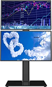 Dual Monitor Stand - Vertical Stack Screen Free-Standing Monitor Riser Fits Two 13 to 30 Inch Screen with Swivel, Tilt, Height Adjustable, Holds One (1) Screen up to 44Lbs HT05B-002