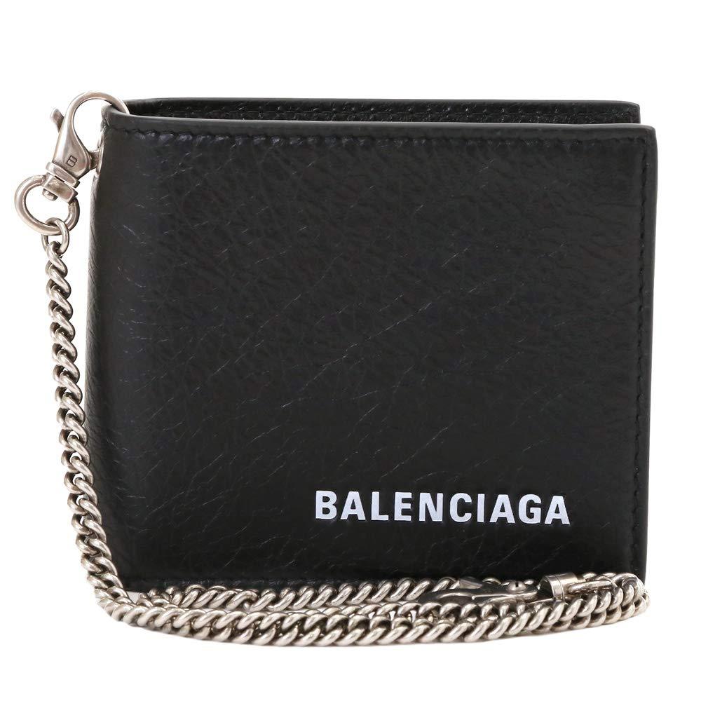 [バレンシアガ] BALENCIAGA メンズ 2つ折り財布 チェーン付き ロゴ入り 504934 DB505 1000 ブラック [並行輸入品] B07S7WB67F