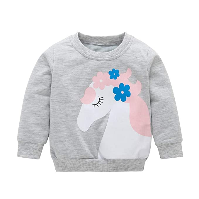 Mitlfuny Ropa de Bebé Primavera Otoño Camisas para Niñas Niños Camisetas de Manga Larga Caballo Flor