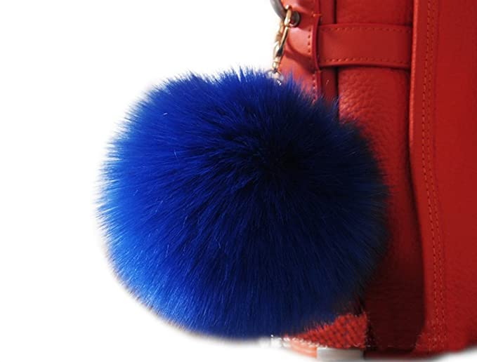 39ff2c2da286 Amazon.com  Modelshow 2pcs lot Faux Rabbit Fur Soft Ball Fluffy Fuzzy Ball  Pom Pom Pendant with Golden Car Keychain Keyring (blue)  Clothing
