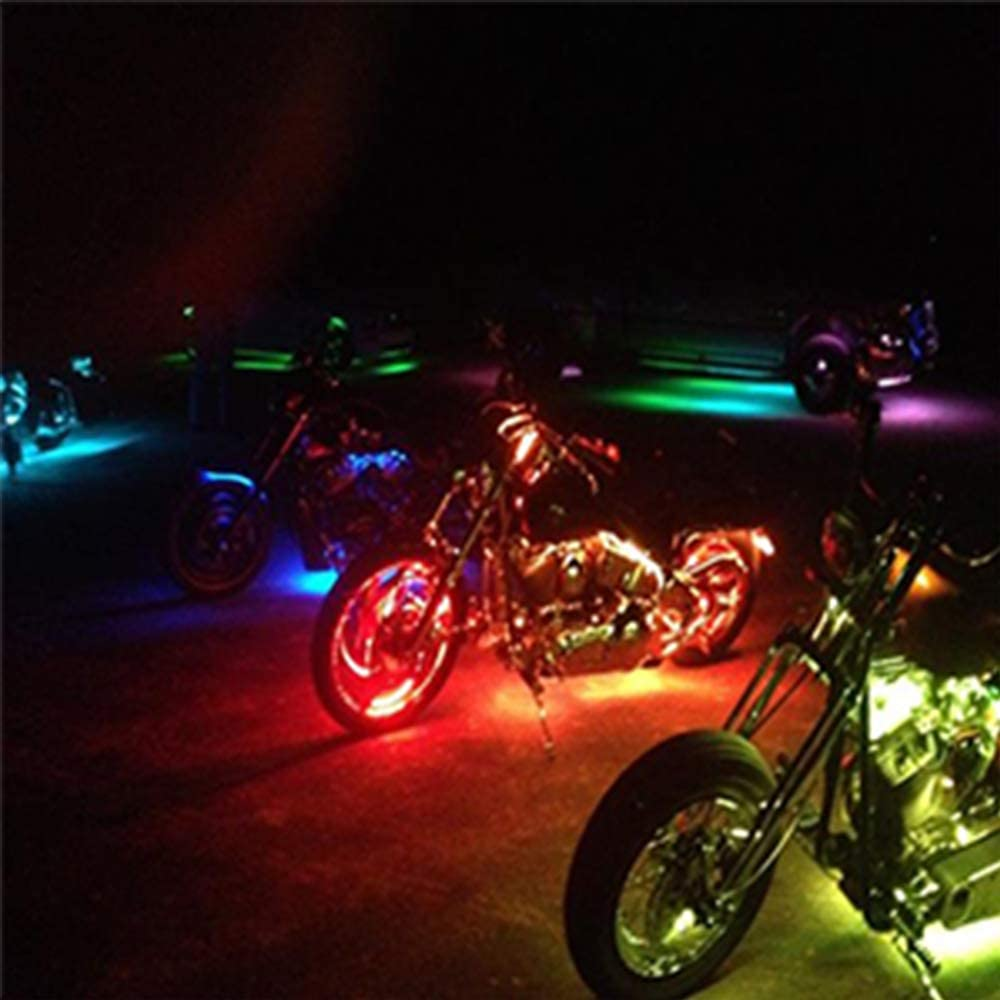 NBWDYs 12Pcs Motorcycle LED Light Kit Strips Multi-Color Accent Glow Neon Ground Effect Atmosphere Lights Lamp with Bluetooth Smartphone APP RGB Controller for motorcycle,ATV,golf Car