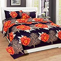Geo Nature 100% Cotton Double BedSheet for Double Bed with 2 Pillow Covers Set, Queen Size Bedsheet Series, 140 TC, 3D Printed Pattern