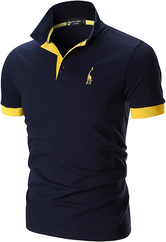 STTLZMC Polo Uomo Manica Corta Basic Tennis T-Shirt Casual Gentiluomo Poloshirt Cotone