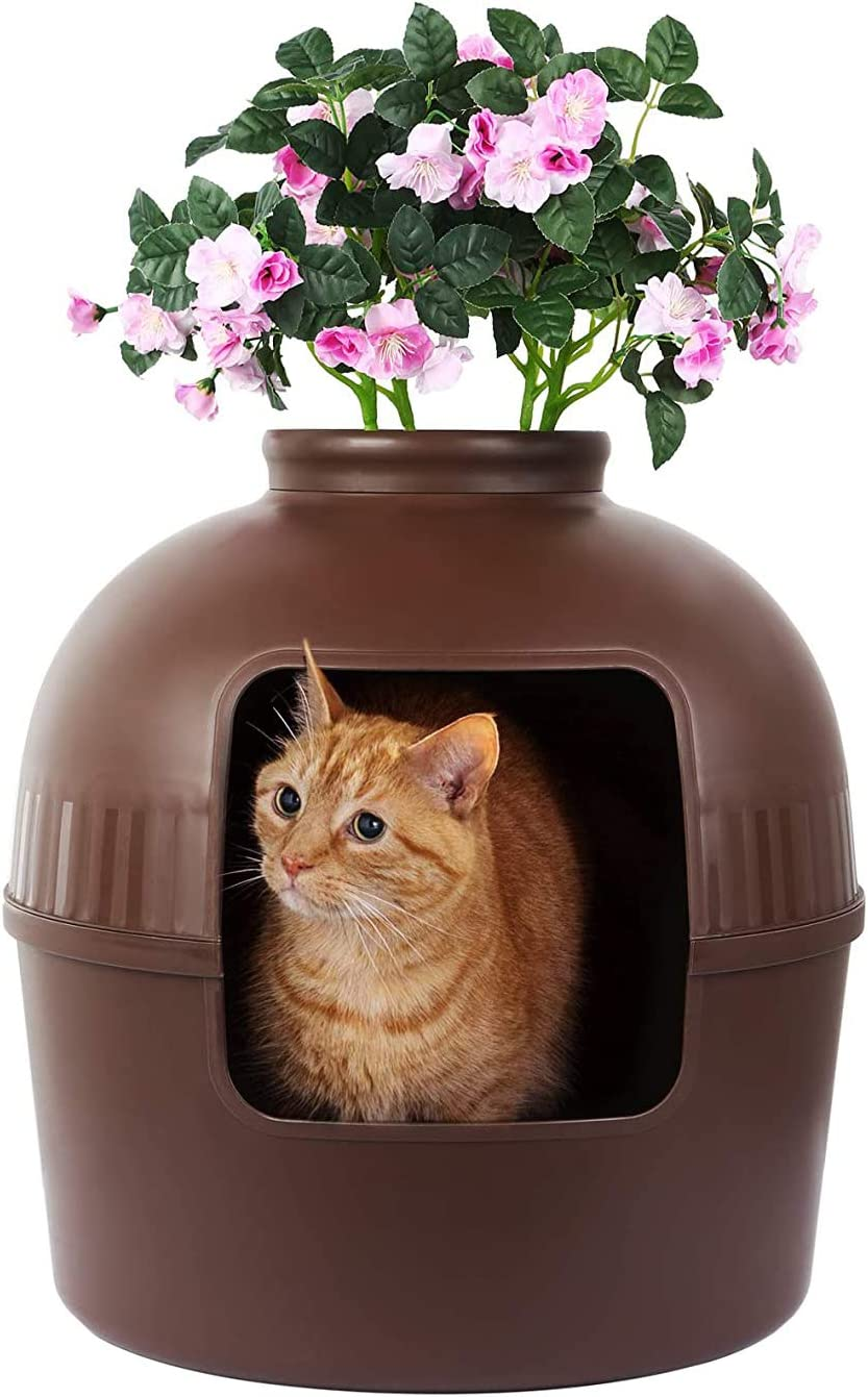 Cat Litter Box Cat House for Indoor Cats Hidden Litter Box Cat House for Large Cats Kitty Litter Box Doubles as Cat House Furniture or Covered Cat Litter Box Plant Hidden Litter Box for Multi-Cat