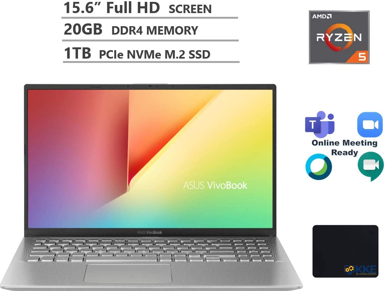 "ASUS Vivobook Laptop, 15.6"" Full HD Screen, AMD Ryzen 5-3500U Processor up to 3.7GHz, 20GB RAM, 1TB PCIe SSD, Webcam, WiFi, Bluetooth, Webex/Zoom Meeting Ready, Win 10 Home, Silver, KKE Mousepad"