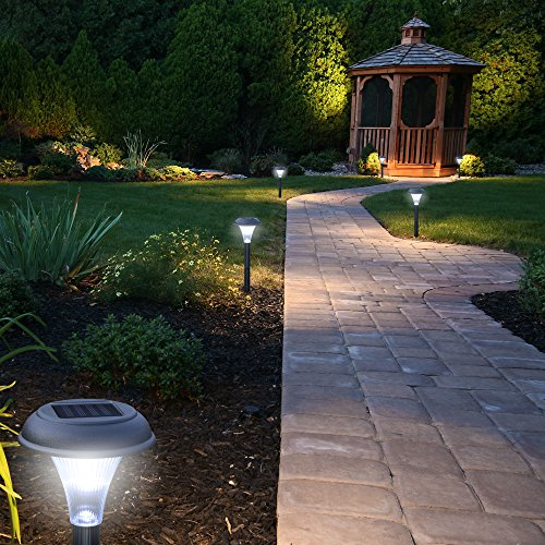 GardenBliss Best Solar Lights For Outdoor Pathway, 10 Brightest Light Set For Walkway, Patio, Path, Lawn, Garden, Yard Decor, Double Waterproof Seal, Large Led Landscape Outside Post Lighting Lamps by GardenBliss (Image #5)