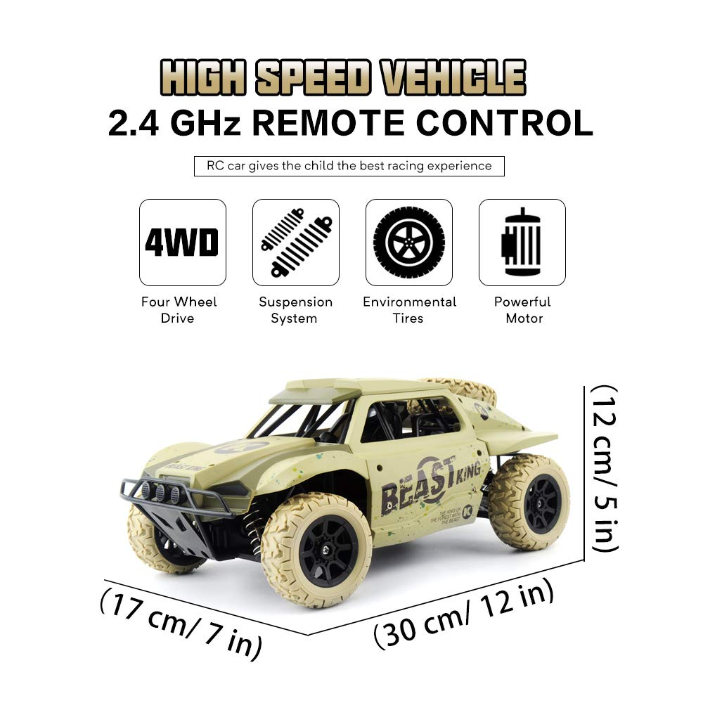 Gizmovine Remote Control Cars 4WD Large Size High Speed 15.5 MPH+ Racing Rc Cars Off Road for Kids and Adults , 2019 Version (Khaki) by Gizmovine (Image #2)