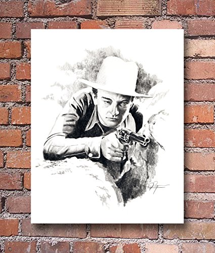 John Wayne The Big Stampede Pencil Drawing Art Print by Artist DJ Ro.