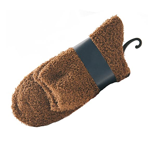 Tinksky Calcetines tobilleros de lana polar para hombres Calcetines de piso gruesos cálidos Calcetines mullidos de