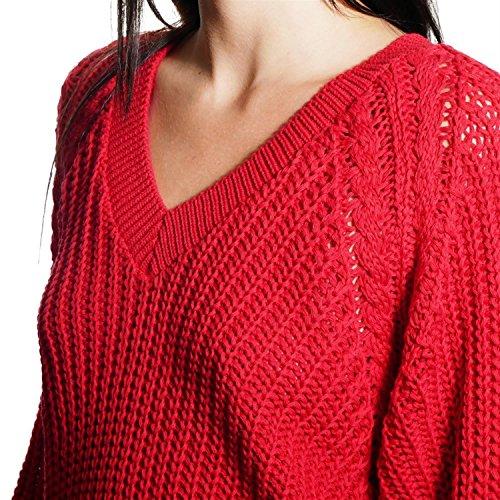 JUANA LA LOCA AND THE VICTORIANS - Mujeres Jersey de Manga Larga Cuello V Suéter Perlado Punto Basico Rojo