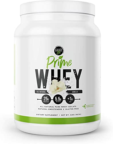 Gauge Life Prime Whey Isolate Vanilla Protein Powder from Pasture Raised Cows- Keto Friendly, Low Calorie, Non-GMO, Gluten Free, Soy Free. Great for Weight Loss Bodybuilding, 32 Servings