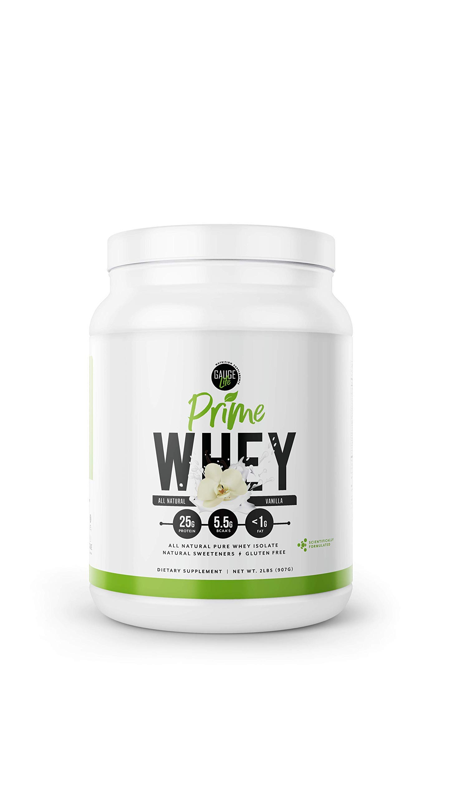 Gauge Life Prime Whey Isolate Vanilla Protein Powder from Pasture Raised Cows- Low Carb, Low Calorie, Non-GMO, Gluten Free, Soy Free. Great for Weight Loss & Bodybuilding, 32 Servings by Gauge Life Nutrition Supplements