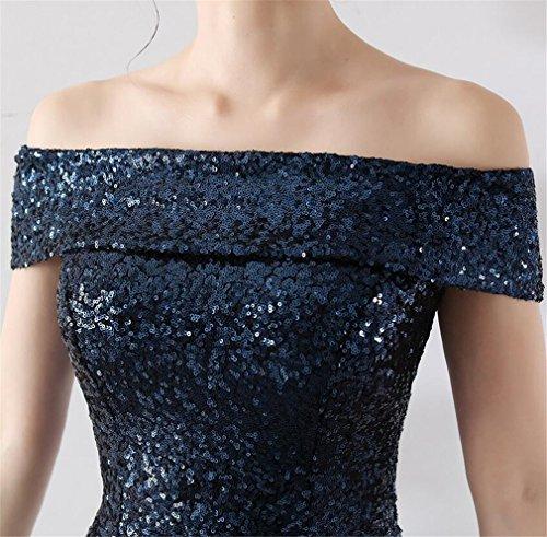 Vestito Impero Sera Abito Elegante Da Paillettes Blue Z Partito Sera Da Spalline ELEGENCE Senza Con xXqaRC