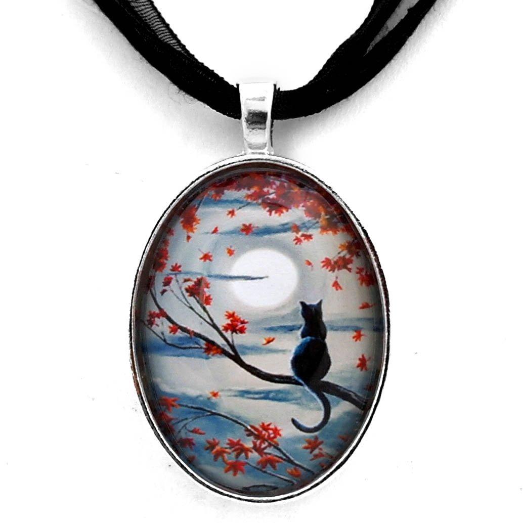 Laura Milnor Iverson Black Cat In Autumn Moonlight | Zen Tree Branches Halloween Moon Boho Pagan Handmade Jewelry Art Pendant Black Ribbon Necklace