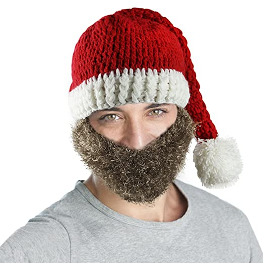 Amazon.com  Adults Christmas Costume Knitted Santa Beanie Hat with Beard  Winter Warm Ski Cap  Clothing b5555b86e460