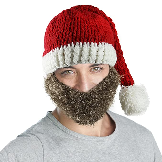 Amazon.com  Adults Christmas Costume Knitted Santa Beanie Hat with Beard  Winter Warm Ski Cap  Clothing 32c35c8de