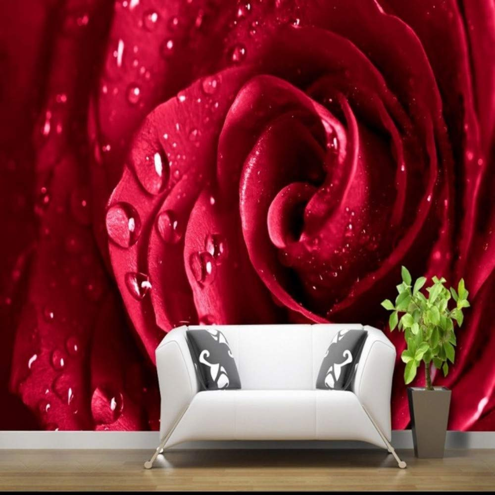 Amazon Com Xbwy Custom 3d Wallpaper Red Rose Water Drops Floral