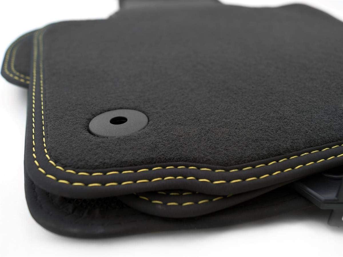 Kh Teile Fußmatten Passend Für Golf 5 6 Velours Automatten Premium Qualität Stoffmatten 4 Teilig Schwarz Nubuk Schwarz Mit Doppelnaht Gelb Gelb Auto