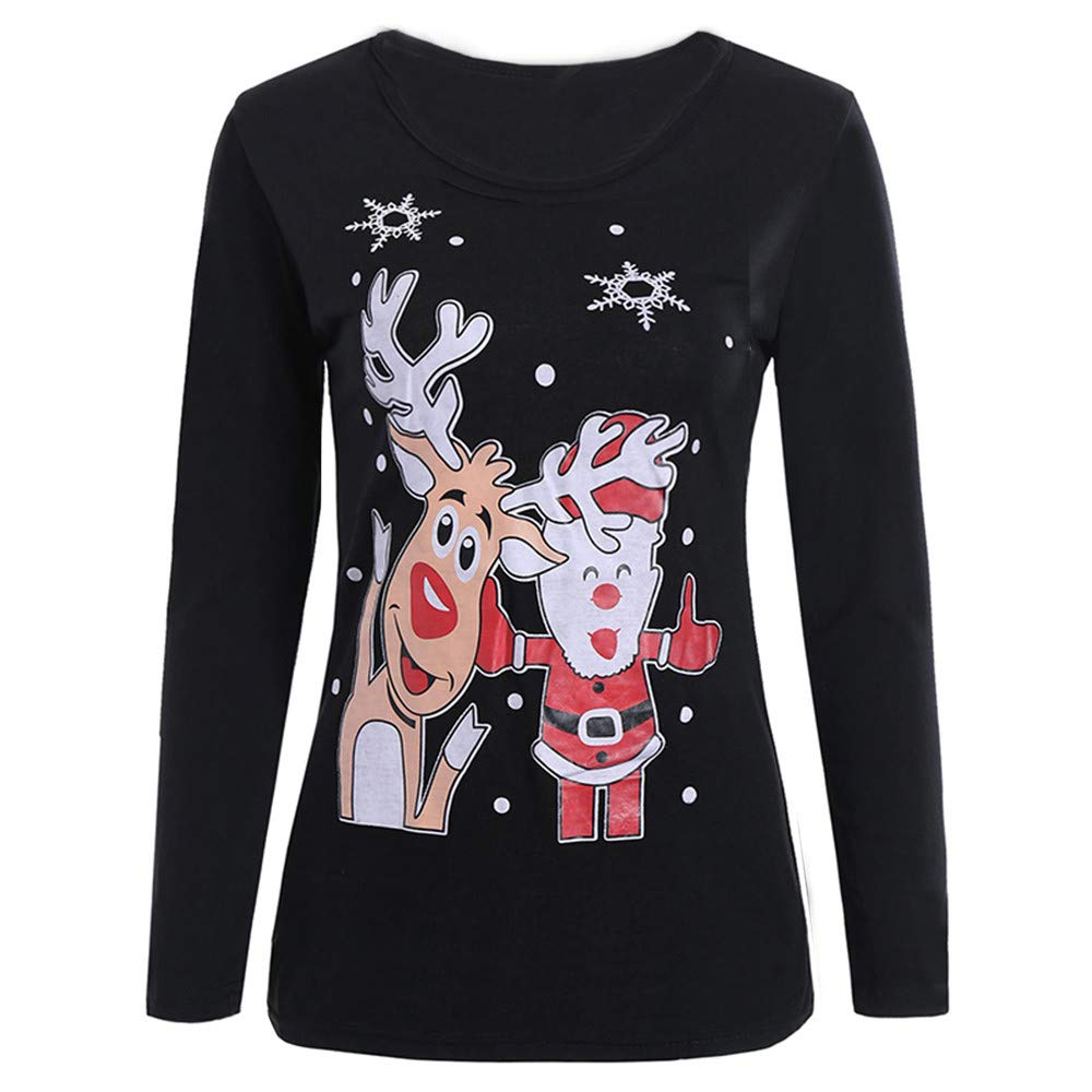 Wobuoke Women Christmas Print Tops Neck Sweatshirt Pullover Blouse T-Shirt at Amazon Womens Clothing store: