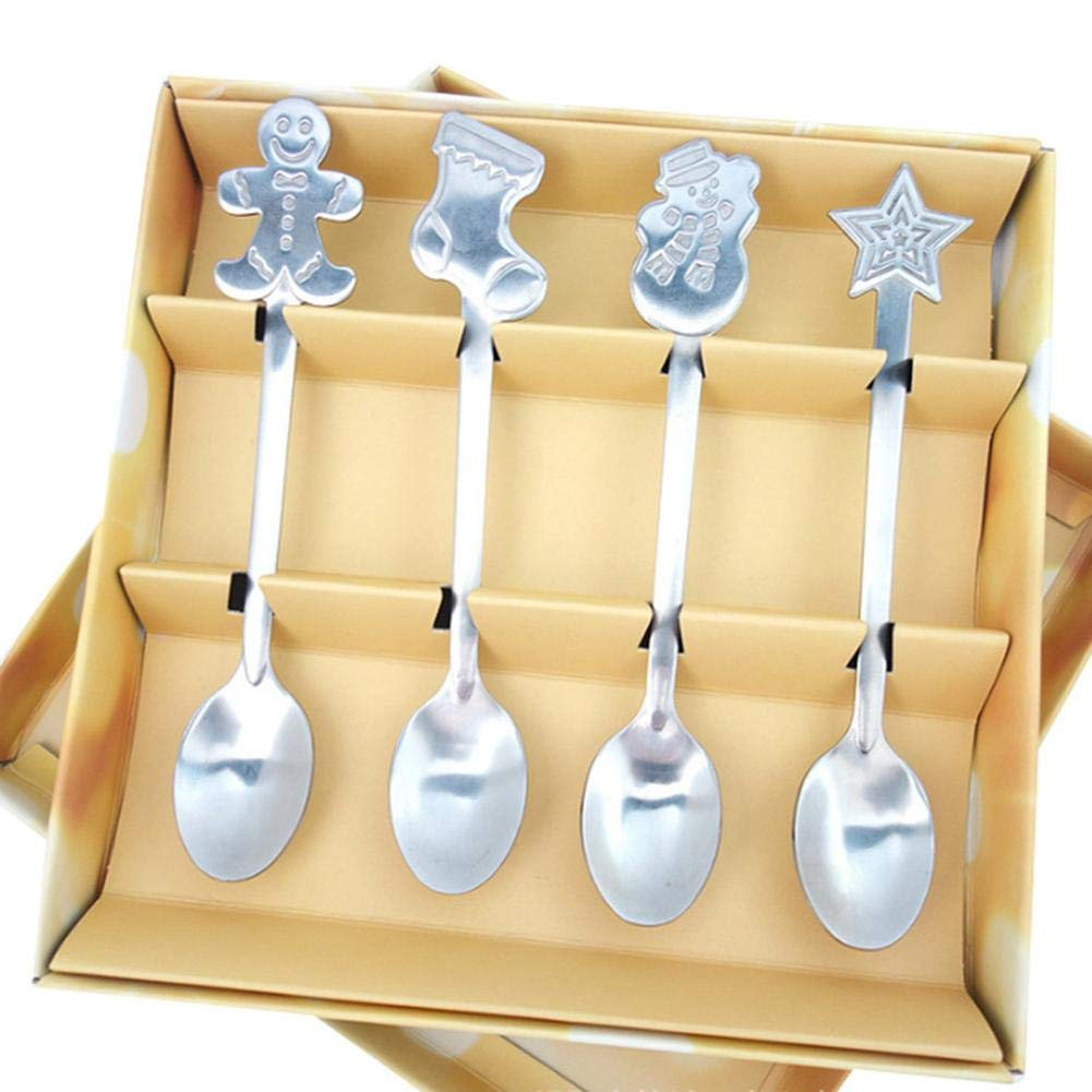 Christmas Tableware Ornament Accessories,Christmas Snowman Star Stainless Steel Coffee Dessert Ice Cream Scoop Loveinwinter 4pcs Christmas Style Teaspoon