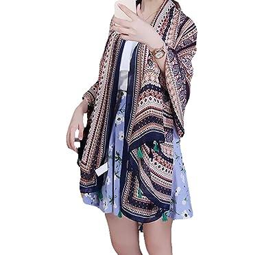 aloiness Echarpe Châle Foulard Etole Pashmina en Mousseline Multicolore 100    180cm 8314dfe3d80