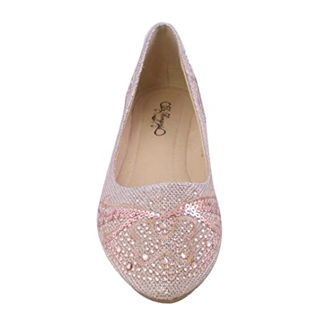 Womens Pointed Toe Ballet Flats Rhinestone CHAMPAGNE WOMEN