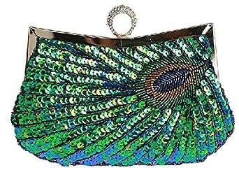 Peacock pattern sequined bridal bag/evening bag/clutch/wallet