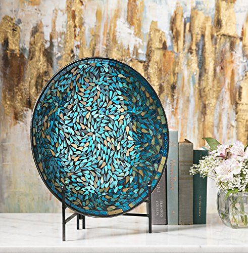 Imax 80034 Peacock Mosaic Charger and Stand in Blue u2013 Antique Glass Plate Decor Accessory for Dining Parties Wedding. Commemorative and decorative Plates & Mosaic Charger Plates. Imax 80034 Peacock Mosaic Charger and Stand ...